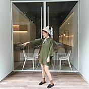 韓国ラウンドネックソリッドカラーニットセータードレスに署名