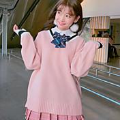 firmar coreano modelos básicos salvajes sueltos golpeó el color flojo suéter con cuello en V que basa el suéter de la mujer