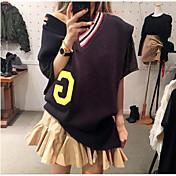 新しい女性' sの大学の風のレジャー緩い大きなXヘッジ襟のセーターのコートニットミスMA JIA