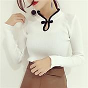 Mujer Regular Pullover Uso Diario Cita Calle Tejido Oriental,Chica Sexy Escote Chino Manga Larga N/A Otoño Invierno Medio Elástico