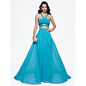 TS Couture フォーマルイブニング ドレス - エレガント Aライン ストラップ スイープ/ブラシトレーン シフォン とともに ビーズ プリーツ