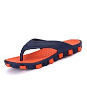 メンズ スリッパ&フリップ・フロップ トゥリングサンダル ラバー 夏 カジュアル トゥリングサンダル オレンジ グレー レッド グリーン フラット