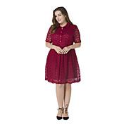 Dámské Vintage Velké velikosti Krajka Šaty Jednobarevné,Krátký rukáv Košilový límec Délka ke kolenům Polyester Jaro Léto High RiseLehce