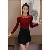 スリムレースのニットシャツの女性の符号秋と冬服韓国語バージョン野生の長袖のセーター底入れシャツ