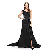Corte en A Un Hombro Larga Satén Evento Formal Vestido con Cuentas Plisado por TS Couture®