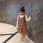 新しい春は細いストラップが魚尾長袖セータードレスのサスペンダーピースが固体装着単語スカートでした