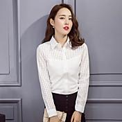 韓国の女性ラペル長袖の白いシャツをステッチスポット2017新しい春モデルに署名