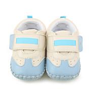 キッズ 赤ちゃん フラット 赤ちゃん用靴 幼児用靴 レザーレット 春 秋 カジュアル フラットヒール ブラック ライトブルー フラット