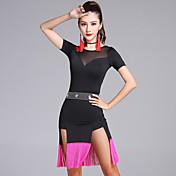 ラテンダンス ワンピース 女性用 演出 プロミックス タッセル 2個 半袖 ナチュラルウエスト ショーツ ドレス 92,93,94,95