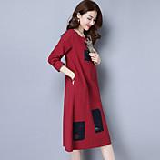 2017年春に新しい女性' sの国民の風オリジナルのパッチ綿の長袖ロングドレス
