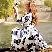 Mujer Línea A Vaina Corte Swing Vestido Noche Casual/Diario Fiesta/Cóctel Vintage Chic de Calle Sofisticado,Floral Bloques Escote en Pico
