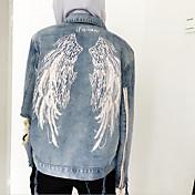 Zhou Yang Qing con capucha dejará volar con agujeros par bf sujetadores en los pantalones vaqueros bordados alas