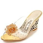 Mujer-Tacón Cuña-Zapatos del club Confort-Sandalias-Informal Vestido-Goma-Plata Oro