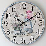 レトロ風 壁時計,円形 ウッド 屋内 クロック