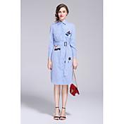 Mujer Línea A Vestido Casual/Diario Simple Bonito,Floral Bordado Cuello Camisero Hasta la Rodilla Manga Larga Azul AlgodónPrimavera