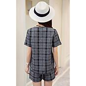 2017 mujeres de primavera y verano&# 39; s camisa a cuadros + cortocircuitos de las señoras delgadas pequeños trajes de moda casual de