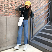 Muestra lateral neto del triángulo jeans azul oscuro retro del color del encanto de la alta cintura flecos de lana pantimedias recta
