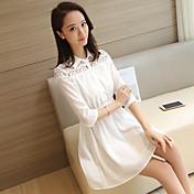 記号2017春と夏のシャツドレス韓国のスリムレースのステッチ袖の白いドレスの女性