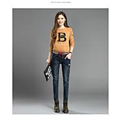 刺繍ウエストゴムのジーンズの秋女性のズボンのズボンの足幅の広い曲halunパンツの学生が群がっ署名