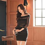 Vestido sin tirantes atractivo de la cadera del paquete del nuevo collar coreano 2017 del resorte bottoming