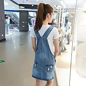 風の符号2016夏の韓国研究所は、薄い女性の緩いデニムストラップドレスのストラップのドレスでした