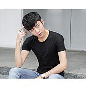 夏の男性に署名' sのコットン半袖Tシャツスリム若い学生は、刺繍野生のTシャツを羽