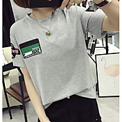 6535 algodón de manga corta camiseta blanca coreana hembra floja de la corto-manga signo compasivo