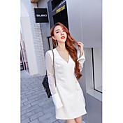 signo temperamento abrigo vestido nuevo de gama alta 2016 de otoño en las mangas de organza de color blanco sobre cuerno largo mangas