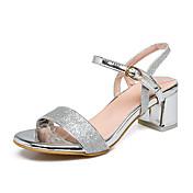 Mujer Zapatos Sintético Primavera Verano Otoño Talón Descubierto Sandalias Tacón Robusto Dedo redondo Lentejuela Para Vestido Fiesta y