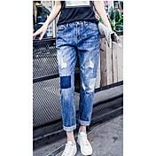 la primavera y el verano de la personalidad los pantalones vaqueros flojos femeninos agujero pantimedias estudiantes pantalones mendigo