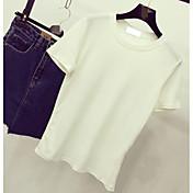 2017春新韓国シンプルキャンディー色の半袖Tシャツレジャー野生のサンディング
