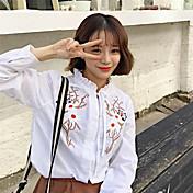 2017年春韓国人女性の再クラフトシャツ刺繍の花に署名