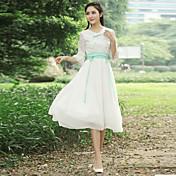 falda de hadas signo señoras delgadas primavera de 2017 mujeres del vestido de la cintura de encaje bordado de la vendimia