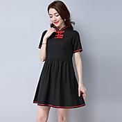 botones de la placa de cuello de algodón nuevo viento nacional 2017 del verano mejoró el cheongsam vestido retro