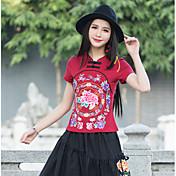 2017年国家風の綿の花刺繍のTシャツシャツボトミングシャツ