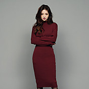 Mujer Línea A Vestido Uso Diario Cita Vacaciones Navidad Acción de Gracias Simple,Color sólido Sexy Hasta el Gemelo Manga Larga N/A Otoño
