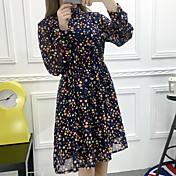 signo vestido de la nueva cintura delgada delgada de flores de gasa 2017 resorte y largas secciones mujeres que basa la falda