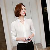 firmar la primavera 2017 nueva moda coreana salvaje v-cuello delgado de la gasa de la camisa femenina camisa de manga larga
