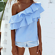 Mujer Bonito Chic de Calle Casual/Diario Noche Verano Camisa,Escote Barco A Rayas Sin Mangas Nailon