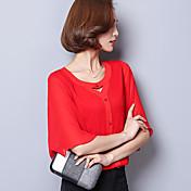 Camisa coreana de la camisa de la gasa coreana verdadera 2017 camisa salvaje de la gasa de la manga de la trompeta del v-cuello del color