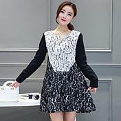秋の新しい韓国の気質は薄い中空のレースのフック花のドレス単語緩いステッチヘッジ女性