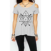 aliexpress ebayホット新しい幾何学的要素プリントトップ女性セクシーなストラップレス半袖Tシャツの女性