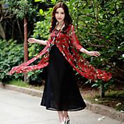 firmar verano viento nacional nueva falsa vestido de dos piezas de la manga vestido de flores quinta parte larga de estilo chino