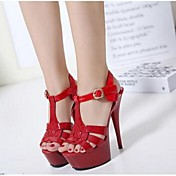 Mujer-Tacón Stiletto-Confort-Tacones-Informal-PU-Blanco Negro Rojo