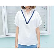 verdadero golpe de viento modelos de primavera de la universidad suelta costura de encaje con cuello en V informal de manga corta camisa