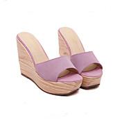 Mujer Zapatos de taco bajo y Slip-Ons Sandalias Suelas con luz Cuero de Cerdo Primavera Invierno Informal Negro Amarillo Verde Rosa7'5 -