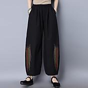 2017 primavera nuevo bordado nacional de viento de bolsillo doble lineal pantalones suelta pantalones casuales