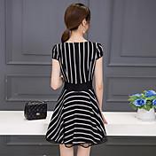 符号2016新しい女性の韓国のスリム薄いストライプのスカートの夏のスカートの夏のドレス