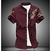 Masculino Camiseta Casual SimplesFloral Algodão Colarinho de Camisa Manga Curta