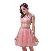 Koktejlové party šaty plesové šaty šperk kolenní tyl s čalouněnou krajkou